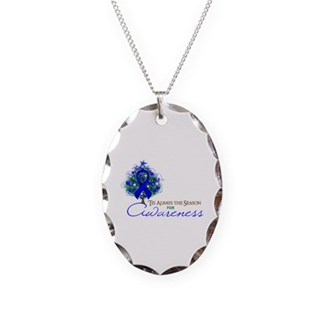 Blue Ribbon Xmas Tree Necklace Oval Charm