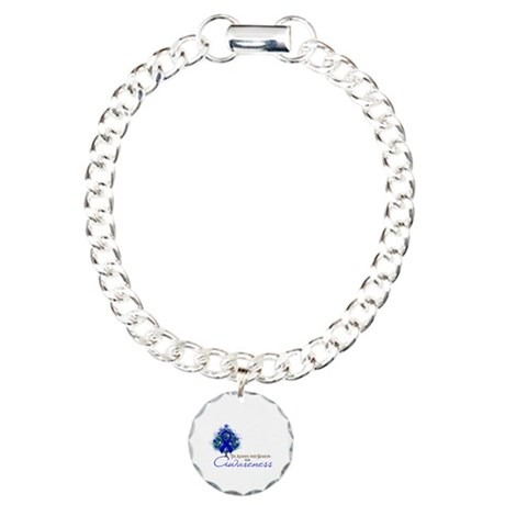 Blue Ribbon Xmas Tree Charm Bracelet, One Charm