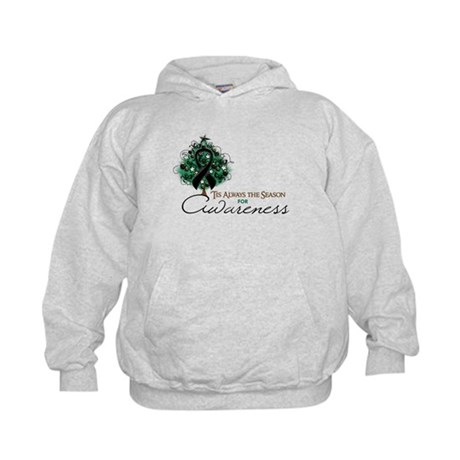Black Ribbon Xmas Tree Kids Hoodie