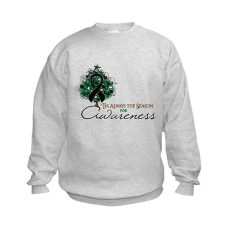 Black Ribbon Xmas Tree Kids Sweatshirt