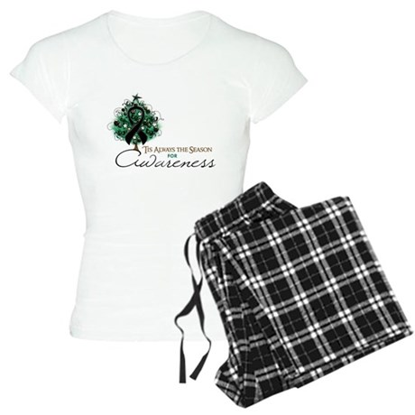 Black Ribbon Xmas Tree Women's Light Pajamas