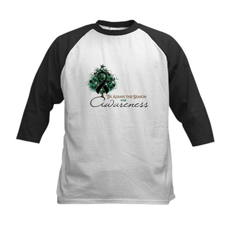 Black Ribbon Xmas Tree Kids Baseball Jersey