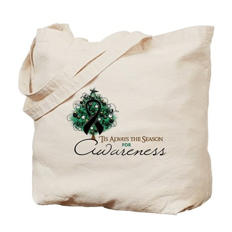 Black Ribbon Xmas Tree Tote Bag