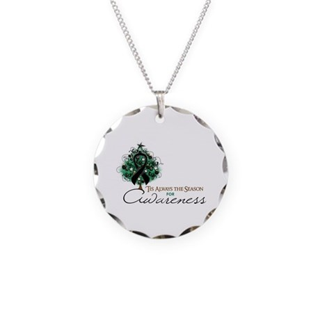 Black Ribbon Xmas Tree Necklace Circle Charm