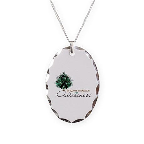 Black Ribbon Xmas Tree Necklace Oval Charm