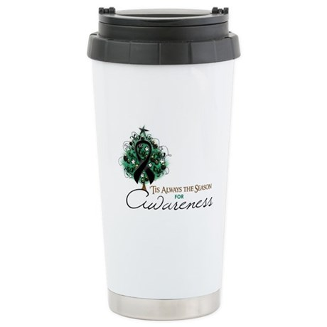 Black Ribbon Xmas Tree Ceramic Travel Mug