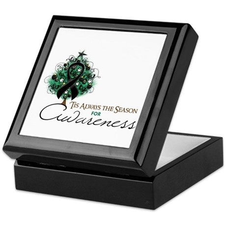 Black Ribbon Xmas Tree Keepsake Box