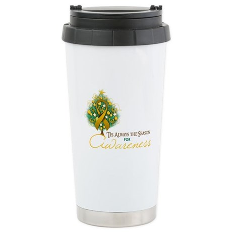Amber Ribbon Xmas Tree Ceramic Travel Mug