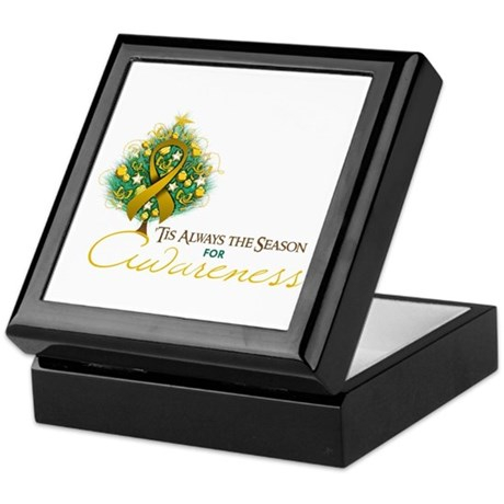 Amber Ribbon Xmas Tree Keepsake Box