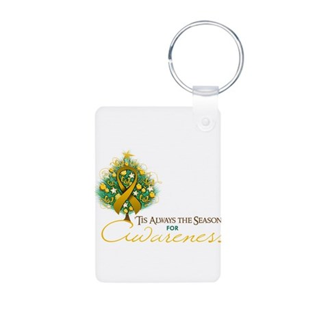 Amber Ribbon Xmas Tree Aluminum Photo Keychain