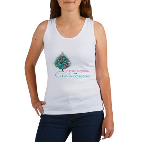 Pink and Teal Ribbon Xmas Tree Women's Tank Top
