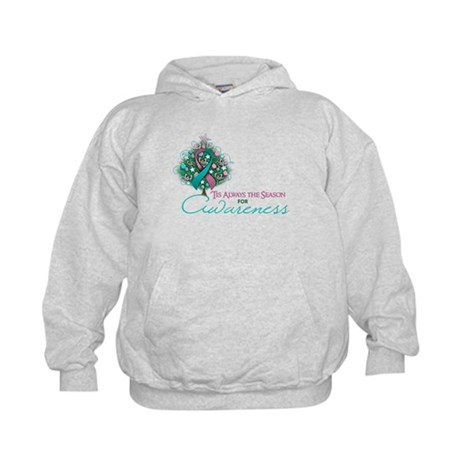 Pink and Teal Ribbon Xmas Tree Kids Hoodie
