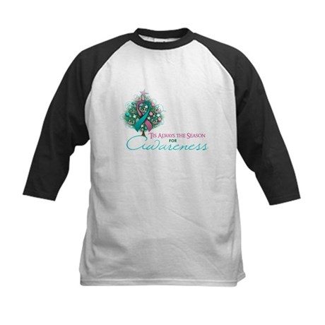 Pink and Teal Ribbon Xmas Tree Kids Baseball Jerse