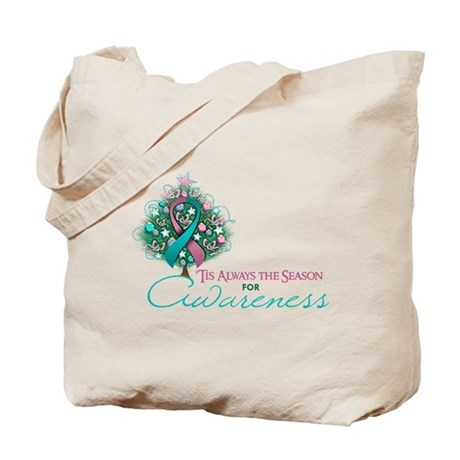 Pink and Teal Ribbon Xmas Tree Tote Bag