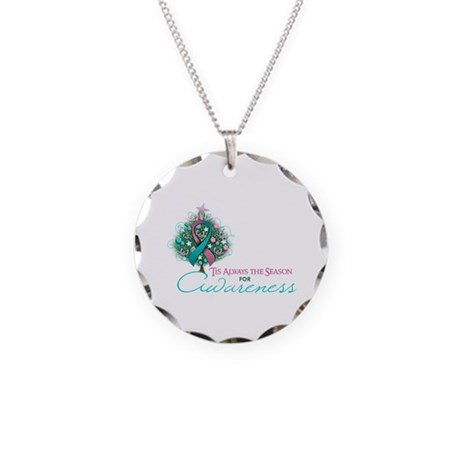 Pink and Teal Ribbon Xmas Tree Necklace Circle Cha