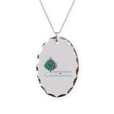 Pink and Teal Ribbon Xmas Tree Necklace Oval Charm