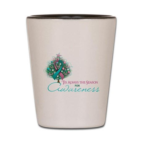 Pink and Teal Ribbon Xmas Tree Shot Glass