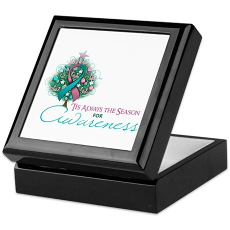 Pink and Teal Ribbon Xmas Tree Keepsake Box