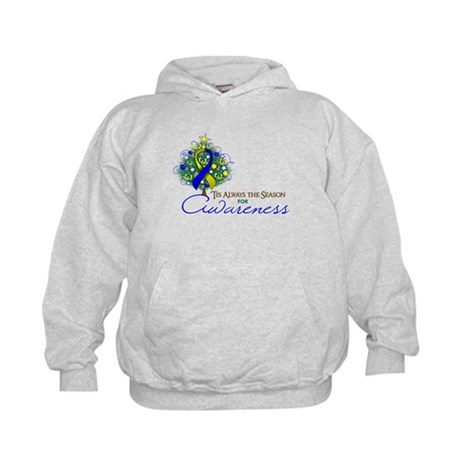 Blue and Yellow Ribbon Xmas Tree Kids Hoodie