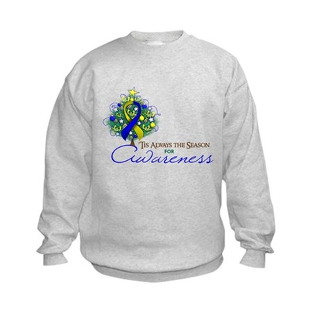 Blue and Yellow Ribbon Xmas Tree Kids Sweatshirt