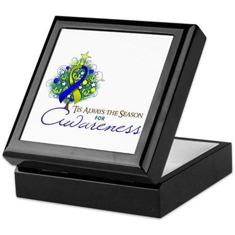 Blue and Yellow Ribbon Xmas Tree Keepsake Box