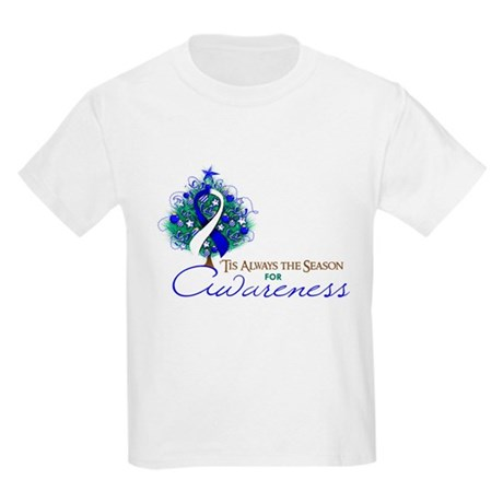 Blue and White Ribbon Xmas Tree Kids Light T-Shirt