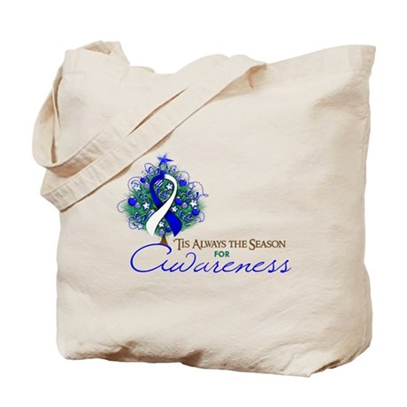 Blue and White Ribbon Xmas Tree Tote Bag