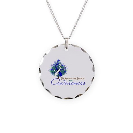 Blue and White Ribbon Xmas Tree Necklace Circle Ch