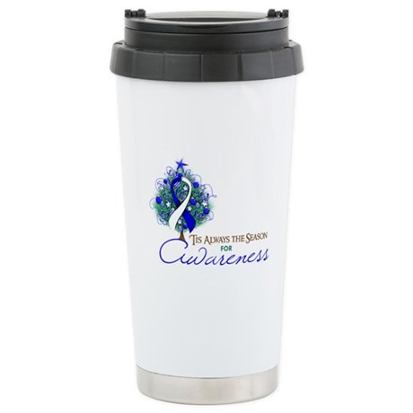 Blue and White Ribbon Xmas Tree Ceramic Travel Mug