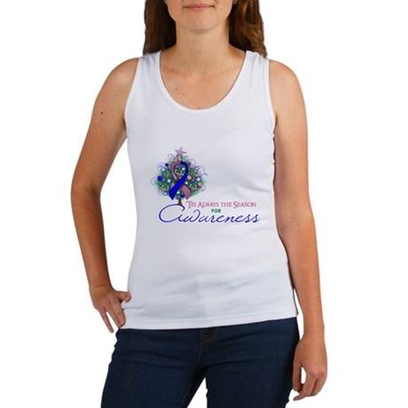 Pink and Blue Ribbon Xmas Tree Women's Tank Top