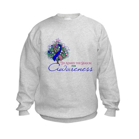 Pink and Blue Ribbon Xmas Tree Kids Sweatshirt
