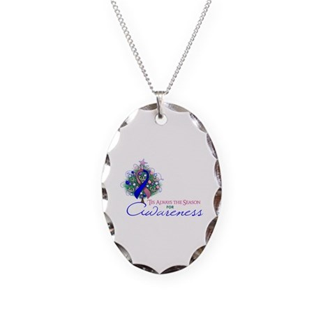 Pink and Blue Ribbon Xmas Tree Necklace Oval Charm