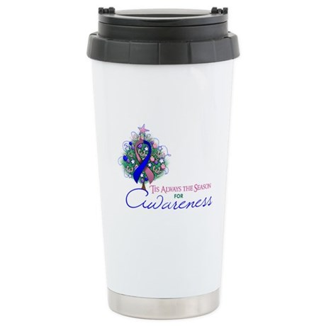 Pink and Blue Ribbon Xmas Tree Ceramic Travel Mug