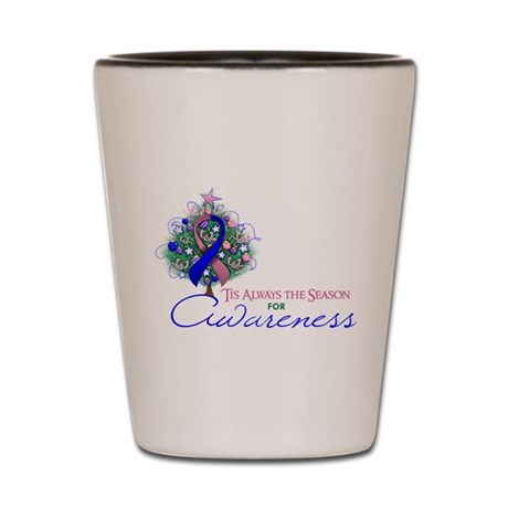 Pink and Blue Ribbon Xmas Tree Shot Glass