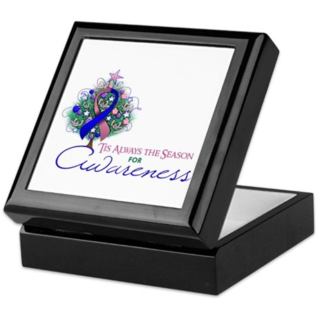 Pink and Blue Ribbon Xmas Tree Keepsake Box