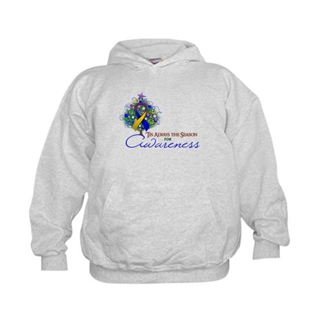 Gold, Blue and Purple Ribbon Xmas Tree Kids Hoodie