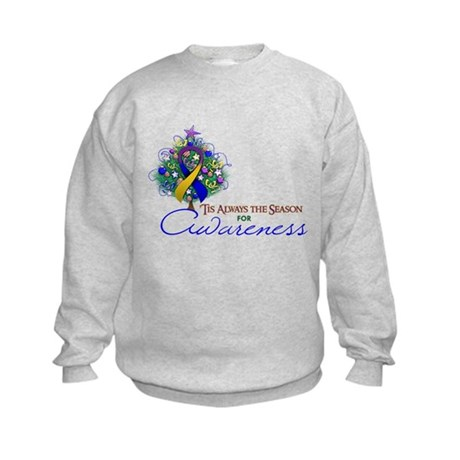 Gold, Blue and Purple Ribbon Xmas Tree Kids Sweats