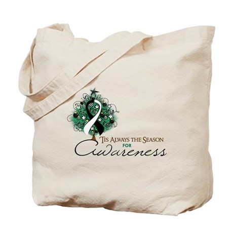 Black and White Ribbon Xmas Tree Tote Bag