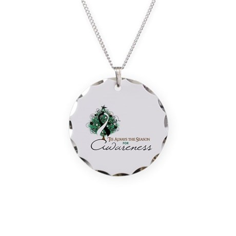Black and White Ribbon Xmas Tree Necklace Circle C
