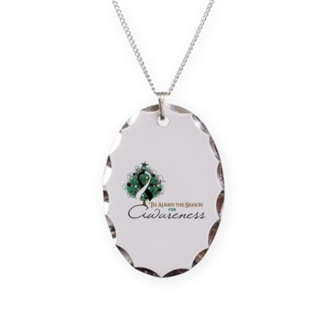 Black and White Ribbon Xmas Tree Necklace Oval Cha