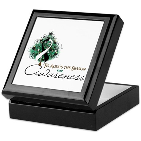 Black and White Ribbon Xmas Tree Keepsake Box