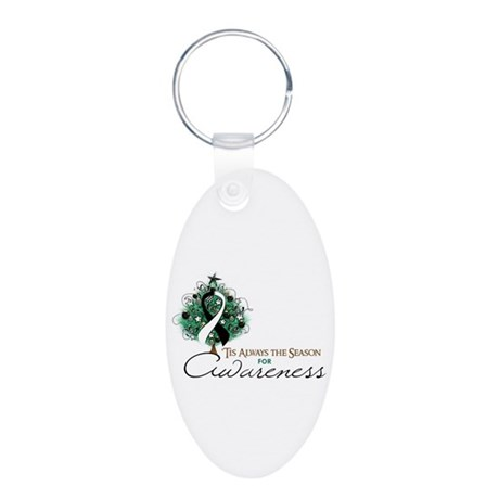 Black and White Ribbon Xmas Tree Aluminum Oval Key