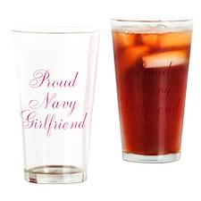 Proud Navy Girlfriend Drinking Glass