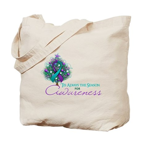 Teal and Purple Ribbon Xmas Tree Tote Bag