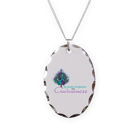 Teal and Purple Ribbon Xmas Tree Necklace Oval Cha