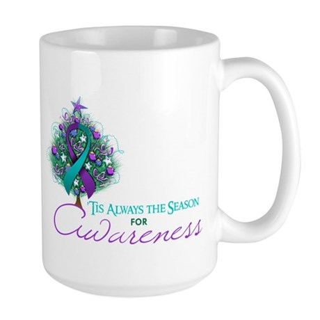 Teal and Purple Ribbon Xmas Tree Large Mug