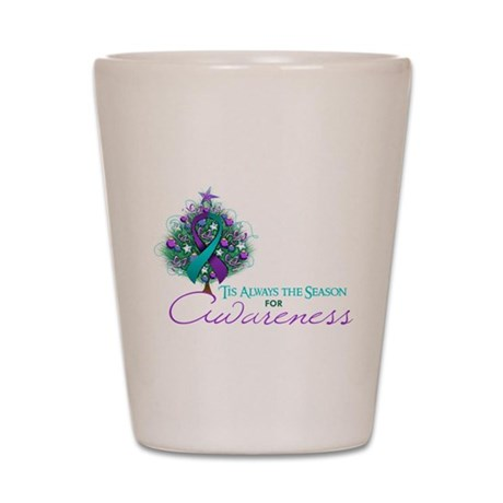 Teal and Purple Ribbon Xmas Tree Shot Glass