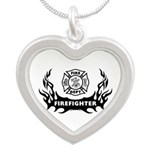 Firefighter Tattoo Silver Heart Necklace