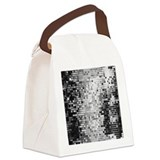Disco Mirrors in Black and White Canvas Lunch Bag