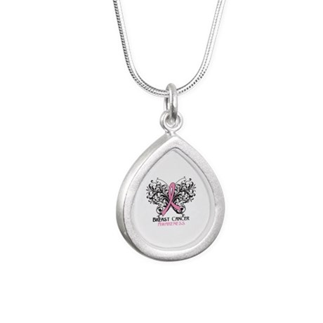 Butterfly Breast Cancer Awareness Silver Teardrop